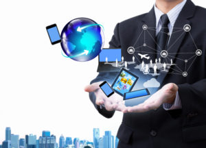 Technology in business hand