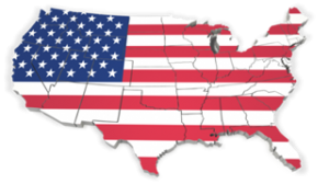 United States Map with One Flag